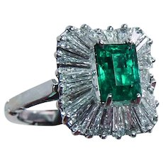 Certified Colombian Emerald Diamond Ballerina Ring 18K White Gold Arthritic