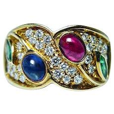 Vintage Sapphire Emerald Ruby Diamond 18K Gold Ring Italy Mid Century