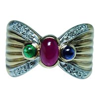 Vintage Ruby Sapphire Emerald Diamond Ring 14K Gold Estate