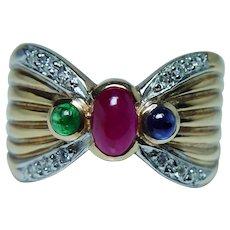 Ruby Sapphire Emerald Diamond Ring 14K Gold