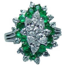 Vintage Platinum Emerald Pear Diamond Ring Estate VS-G