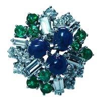 Vintage Sapphire Emerald Diamond Baguette Cocktail Ring 18K White Gold Estate