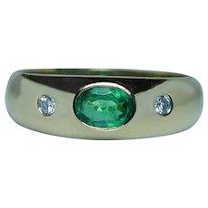 Designer H. Stern Emerald Diamond Ring 18K Gold Signed