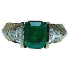 Emerald Trillion Diamond 14K Gold 3 Stone Ring 2.58ct