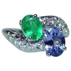 Vintage Platinum Emerald Tanzanite Diamond Ring Estate
