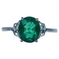 Fine Colombian Emerald Diamond 3 stone Platinum Ring Epaulette cut Estate