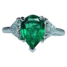 Platinum Emerald Trillion Diamond 3-Stone Ring  GIA
