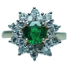Emerald Diamond 14K Gold Halo Ring