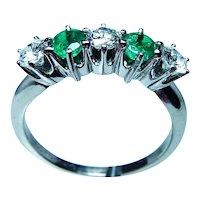 Vintage Platinum Diamond Emerald Anniversary Ring Band
