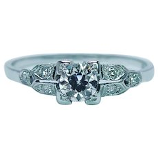 Art Deco Old European Diamond Engagement Ring 18K white gold Estate