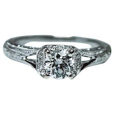 Designer Neil Lane Hearts and Arrows Diamond Engagement Ring 14K White Gold