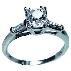 Art Deco 1.06ct Old Mine Miner Cushion Diamond Engagement Ring Platinum