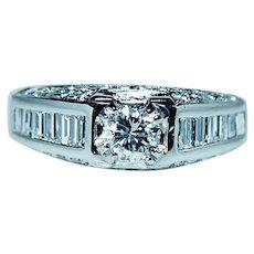 Vintage Platinum 1.6ct VS-G Baguette Diamond Ring Designer