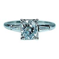 Art Deco 1.06ct Old Mine Miner Cushion Diamond Engagement Ring Platinum