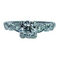 Art Deco .80ct Old European Diamond Engagement Ring Platinum Estate