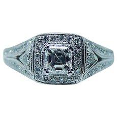 GIA Vintage Asscher Diamond 14K White Gold Engagement Ring Estate Certified