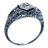 Art Deco Old Mine Diamond French Sapphire Filigree Ring 18K White Gold .54ct