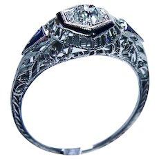 Art Deco Old Mine Diamond French Sapphire Filigree Ring 18K White Gold .54ct