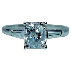 Art Deco 1.06ct Old Miner Cushion Diamond Engagement Ring Platinum Estate