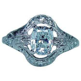 ART DECO Platinum 1.01ct Cushion Diamond Ring Estate EGL Certified