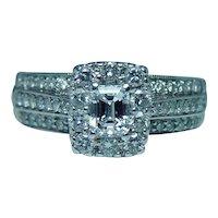 Emerald Cut Diamond Halo Engagement Ring 14K White Gold