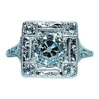 ART DECO 1.57ct Old European Diamond Platinum Engagement Ring GIA Papers