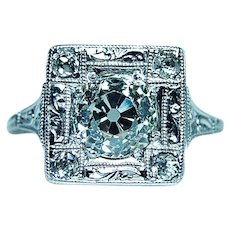 ART DECO 1.57ct Old European Diamond Platinum Engagement Ring GIA Papers