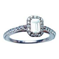 Emerald Cut Diamond Halo Engagement Ring 14K Rose Gold GIA Cert
