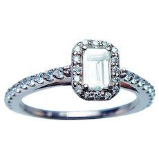 Vintage 14K Rose Gold Emerald Cut Diamond Halo Engagement Ring GIA Cert