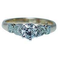 Antique Old European Diamond Engagement Ring 18K Gold Platinum Estate circa 1910