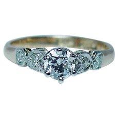 Antique Old European Diamond Engagement Ring 18K Gold Platinum c 1910