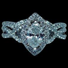 Vintage Diamond Halo Engagement Ring 14K White Gold .72ct center Marquise Estate