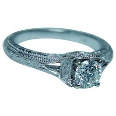 Designer Neil Lane Hearts and Arrows Diamond Engagement Ring 14K White Gold