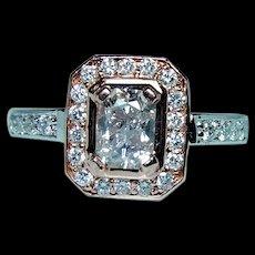 Vintage Radiant Diamond 14K Gold Engagement Halo Ring 1.03ct center GIA Cert Estate