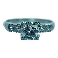 Art Deco .77ct Old European Diamond Engagement Ring Platinum Estate Size 4.5