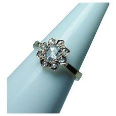 Antique Rose cut Diamond 18K Gold Engagement Ring Estate circa 1870s
