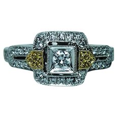 Diamond Halo Ring 18K White Gold Estate Yellow Diamonds