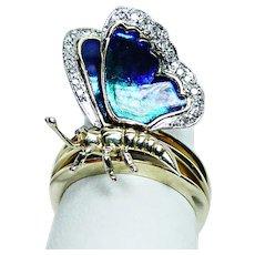 Sonia B Diamond 14K Gold Blue Enamel Butterfly Ring