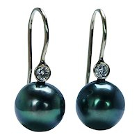 Vintage 14K Gold Diamond Iridescent Tahitian Black Pearl Dangle Earrings Estate