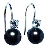 18K White Gold Diamond Genuine Black 8.6mm Pearl Earrings Large Diamonds