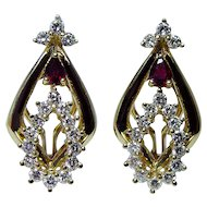 Vintage 18K Gold Ruby Diamond Earrings Heavy High Quality Estate