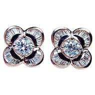 Vintage 1.6ct Round Baguette Diamond Ballerina Earrings 18K Rose Pink Gold Estate Jewelry