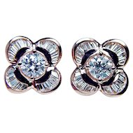 Vintage 1.6ct Round Baguette Diamond Ballerina Earrings 18K Rose Pink Gold Estate Jewelry