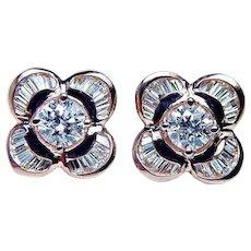 Vintage  Round Baguette Diamond Ballerina Earrings 18K Rose Pink Gold Estate