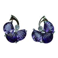 Carved Amethyst Old Mine Diamond Earrings 14K Gold Platinum