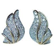 Vintage 18K Gold Angel Wings Diamond Earrings Heavy Designer VS1-FG