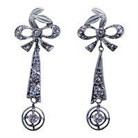Victorian Antique Old European Rose Diamond 14K gold Dangle Bow Earrings