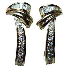 Vintage 18K Gold Diamond Baguette Round Earrings Estate