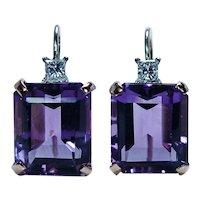 Vintage Amethyst Princess Diamond Drop Earrings 14K Rose Gold Platinum