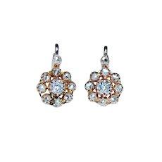French Victorian Old European Diamond Earrings 18K Rose Gold Dormeuses